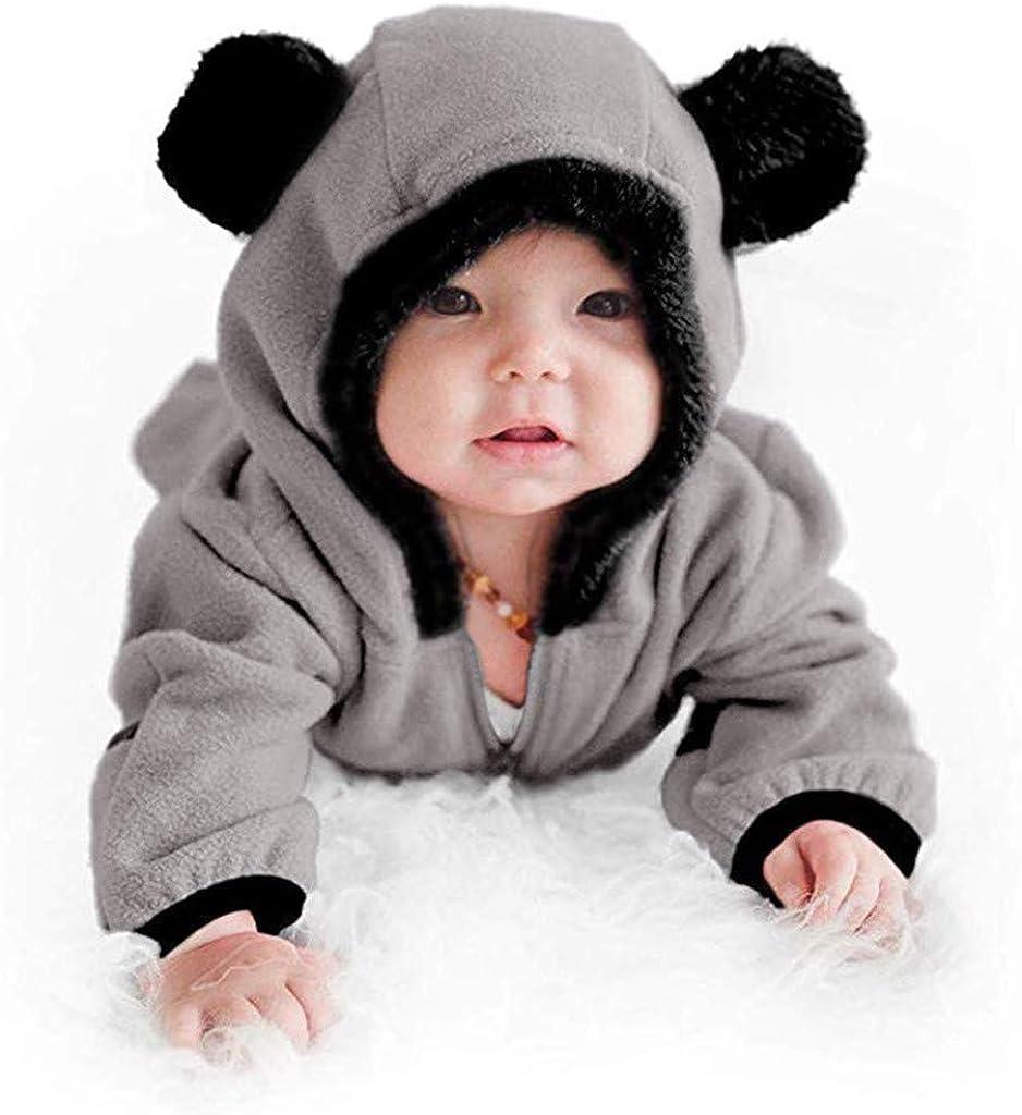 Kobay Infant Baby M/ädchen Jungen Feste Cartoon Ohren Hoodie Strampler Kleidung Fleece Overall Baby Langarm Einfarbig Mit Kapuze Harness Overall Overall 0-24 M