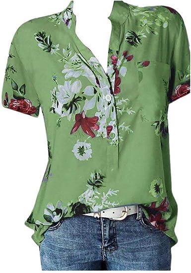 Blusas Mujer Elegantes Tallas Grandes Verano POLP Camiseta Mujer Manga Corta Ropa Mujer Verano 2019 Blusa Sexy Rosa Mujer Fiesta Blusones Talla Grande: Amazon.es: Ropa y accesorios