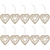 10pcs Wood Laser Cut MDF Flower Hearts Shapes Embellishments Crafting Plaque Signs Pendants with Strings for Wedding Scrapbooking Gift Tags Valentine's Day Festival Party Or DIY Hanging Decoration 3mm Thick (B)