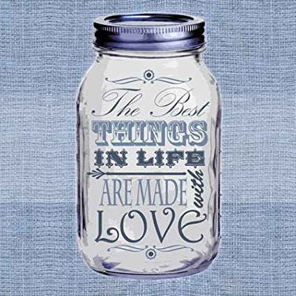 3D Rose lsp/_128509/_1 Mason Jar on Burlap Print Blue-The Best Things in Life are Made with Love-Gifts for The Cook-Single Toggle Switch