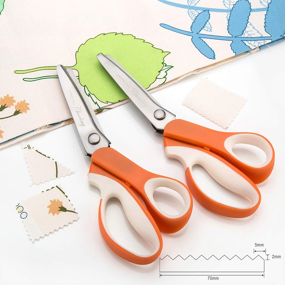 Pinking Shears Set (Pack of 2 PCS, Serrated & Scalloped Edges) by Chooling - Zig Zag Scissor for Fabric Leather - Wave Fabric Scissor - Dressmaking Sewing Dog/Triangle Teeth Tailor Scissors CL-030-B