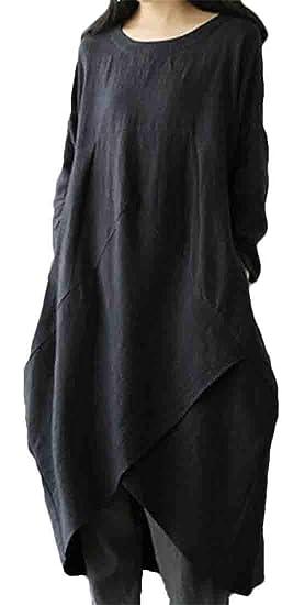 abaa6480fa6cb JXG Women Pockets Crew Neck Asymmetric Hem Plus Size Linen Long Sleeve  Loose Dress Black US
