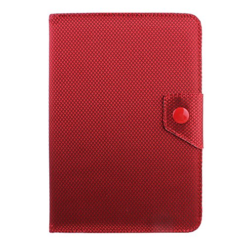 """Case for 7 inch Tablet,Flip Case for Universal 7""""Tablet,IKASEFU(TM) Gingham Pattern Universal 7 inch Tablet Case Folio Faux Leather Stand Flip Protective Case Cover(#2Red)"""