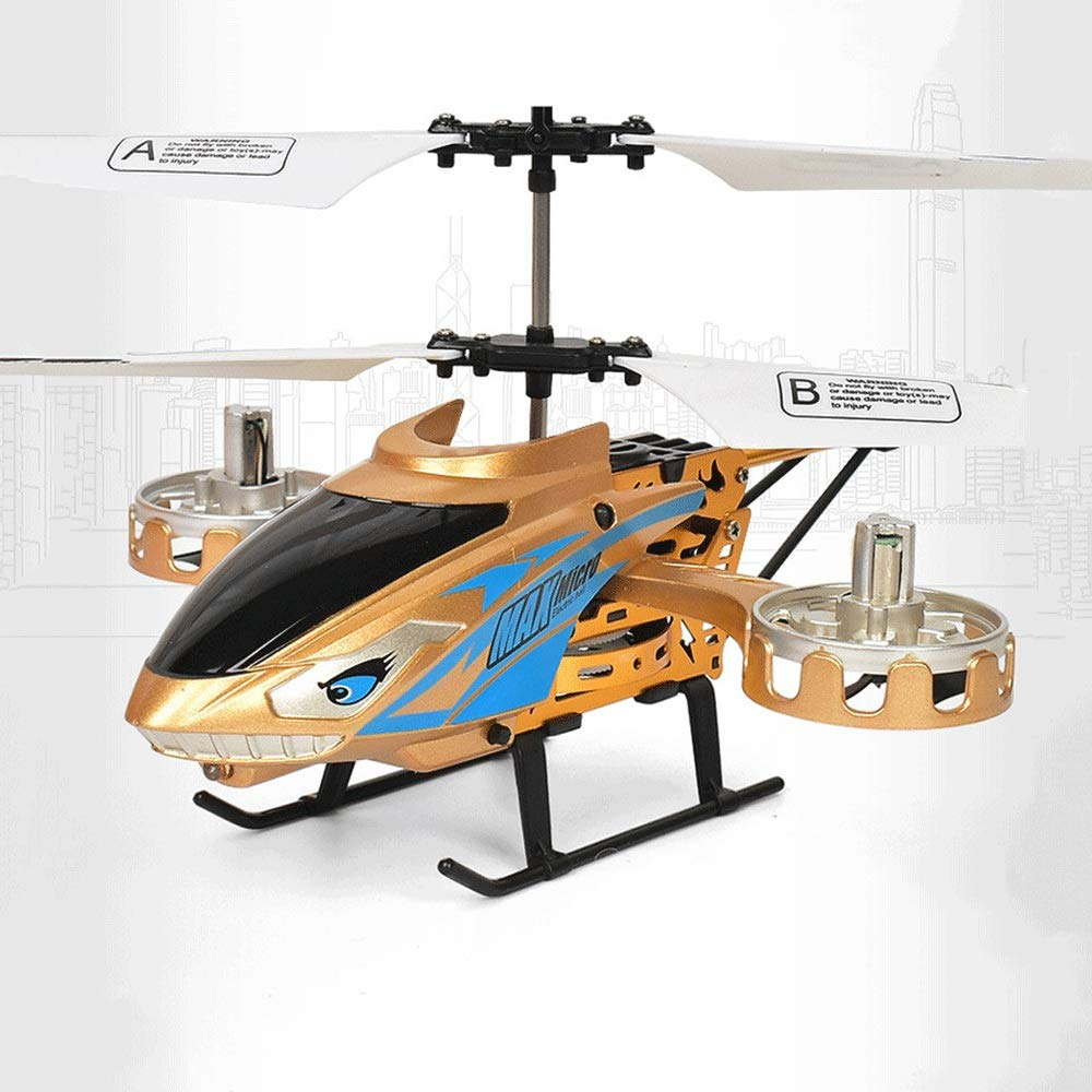 Zenghh Remote Control Helicopter Long-Distance Aircraft Shark Toy Alloy Rack Multiplayer Game Boy Child New Charging and LED Lights Outdoor Anti-Collision Rocker Model Preferred Gift ( Color : Gold )