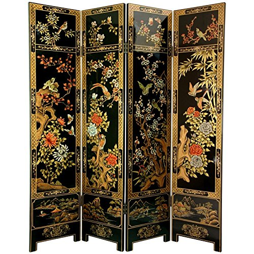 - Oriental Furniture 6 ft. Tall Four Seasons Flowers Screen