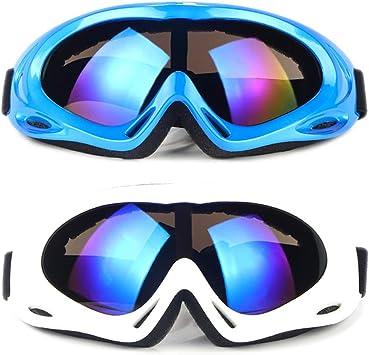 SENDILI 2-Pack Gafas de Esquí - Gafas de Esquiar para Unisexo, Snowboard Resistentes al Viento, Lentes Anti-Reflejo (Azul + Blanco): Amazon.es: Deportes y aire libre