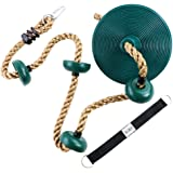 Climbing Rope with Platforms and Disc Swing Seat Set Playground Accessories Including Bonus Hanging Strap & Carabiner