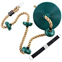 ZNCMRR Climbing Rope with Platforms and Disc Swing Seat Set Playground Accessories Including Bonus Hanging Strap & Carabiner