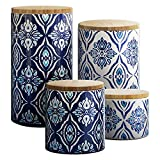 blue and white kitchen American Atelier Pirouette 4 Piece Canister Set, Blue/White