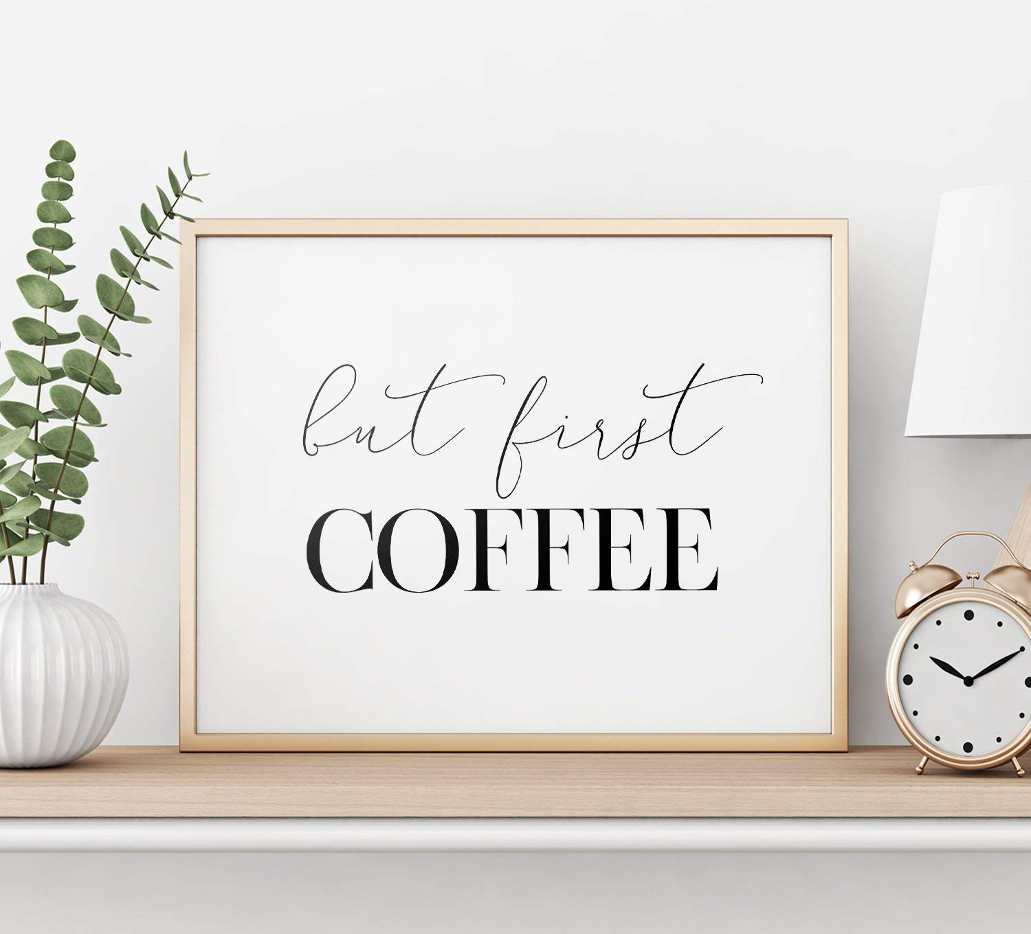 MalertaART But First Coffee Printable Art Inspirational Wall Art Typography Decor But First Coffee Sign Coffee Quote Art Poster Framed Wall Art