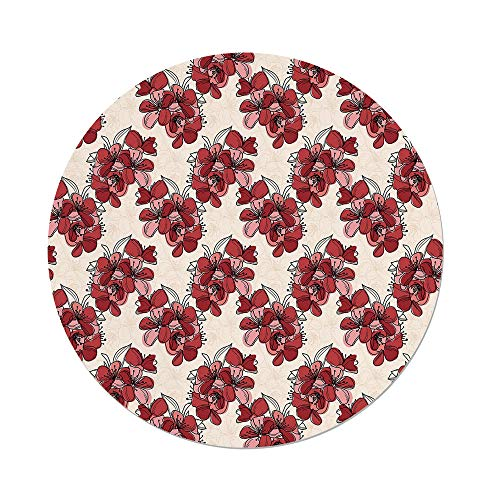 Polyester Round Tablecloth,Floral,Japanese Culture Cherry Blossom Coming of the Spring Birth of the Nature Decorative,Ruby Pale Pink Cream,Dining Room Kitchen Picnic Table Cloth Cover,for Outdoor ()