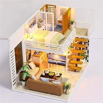 Hearthrousy DIY Puppenhaus Miniatur Haus Selber Bauen Zum Basteln Zubehör  Holz Lernspielzeug Spielzeug Kinder 3D Hand-zusammengebaute Häuser Einfache  ...
