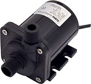 AUBIG Aquarium Fountain 12V DC Mini Water Pump 130GPH Inlet & Outlet 1/4 13.2mm NPT 60° Threads Brushless Low Noise <40dB DC40E-1250 Black