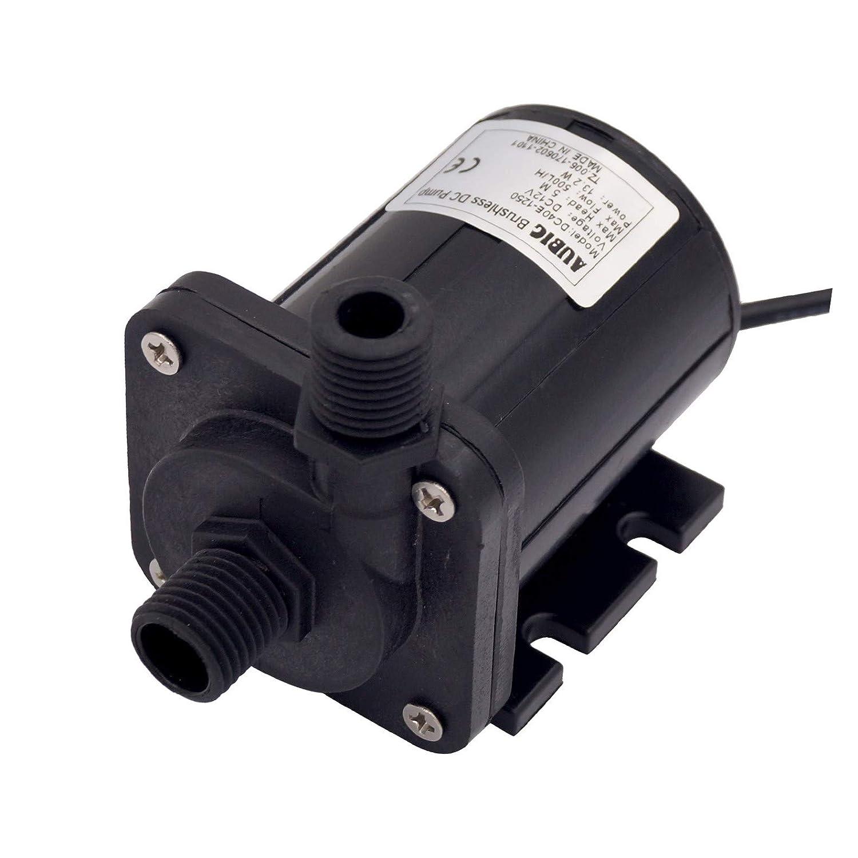 ad8e94c8adc Amazon.com   AUBIG Aquarium Fountain 12V DC Mini Water Pump 130GPH Inlet    Outlet 1 2 13.2mm NPT 60° Threads Brushless Low Noise  40dB DC40E-1250  Black ...