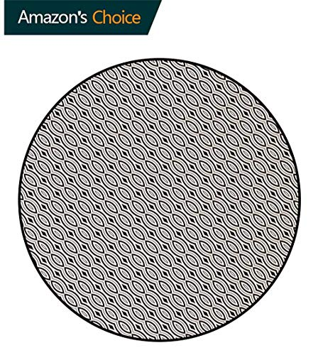 DESPKON-HOME Oriental Modern Simple Round Rug,Diagonal Circles with Rhombuses Ethnic Cultures Inspirations Geometric Design Pattern Round Area Rugs Thin Round-47 Inch,Brown Beige ()