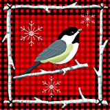 Paperproducts Design 3251067 Holiday Paper Napkin for Cocktail, 5 by 5-Inch, Lodge Chickadee, Red