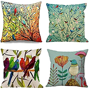 Emvency Set of 4 Throw Pillow Covers of Birds Tree Life and Green Oil Painting Hundreds Bird Decorative Pillow Cases Home Decor Square 20x20 Inches Pillowcases