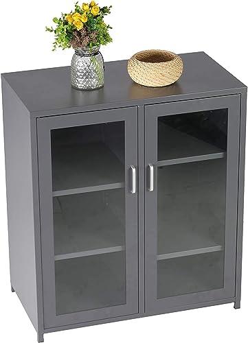 LONABR Industrial Style Storage Cabinet Low Display Cabinet with Double-Door Glass Doors Adjustable Shelf Metal,Gray