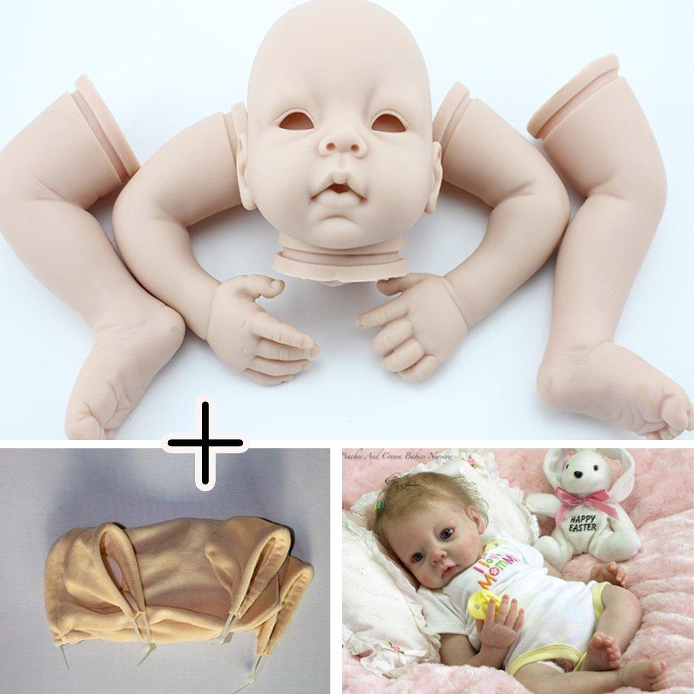 Unpainted Reborn Doll Kits(head,limbs and cloth body) Newborn Baby Model Set DIY,22-Inch Soft Vinyl Silicone by NPK