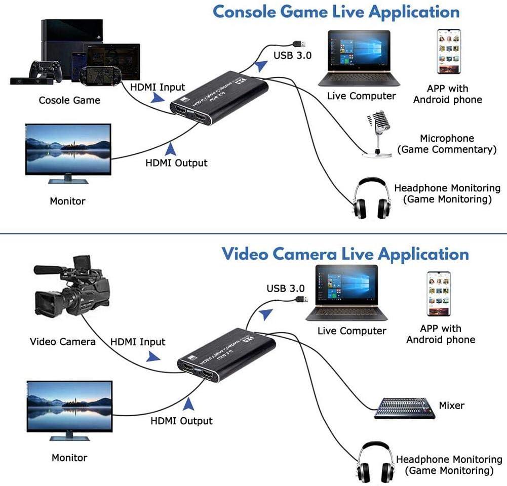 Salas De Conferencias Tarjeta De Captura De V/ídeo HDMI USB 3.0 Tarjeta De Captura De Juegos HDMI Adaptador De Tarjeta De Captura De Video De Captura Para Transmisiones En Vivo Grabaci/ón De Video