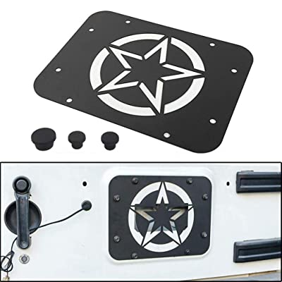 YIFAT JK Tailgate Spare Tire Delete Plate Kit, Five Stars Logo Tailgate Mount Filler with Tire Carrier Removable Rubber Plugs for 07-17 Jeep Wrangler JK JKU & Unlimited: Automotive