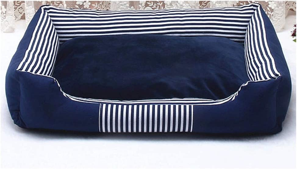 MMAWN 小中犬用ぬいぐるみ長方形ネスト子犬寝袋クッション用ペットベッド(ブルー) (Size : 90*70*15cm)  90*70*15cm