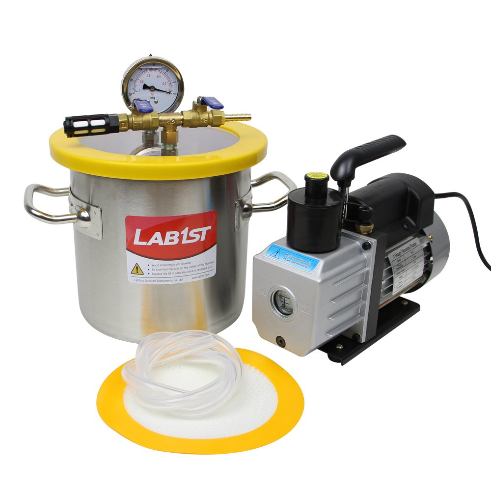 lab1st 1 1/2 Gallon Vacuum Degassing Chamber Kit with 3 CFM Vacuum Pump by LAB1ST