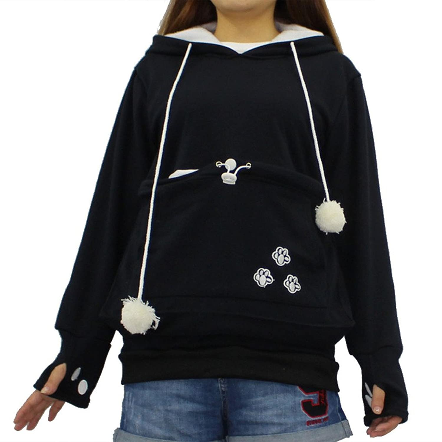 Japanese Style Pullover Big Kangaroo Pouch For Small Cat Dog Pet - Hoodie with kangaroo pouch is the perfect cat accessory