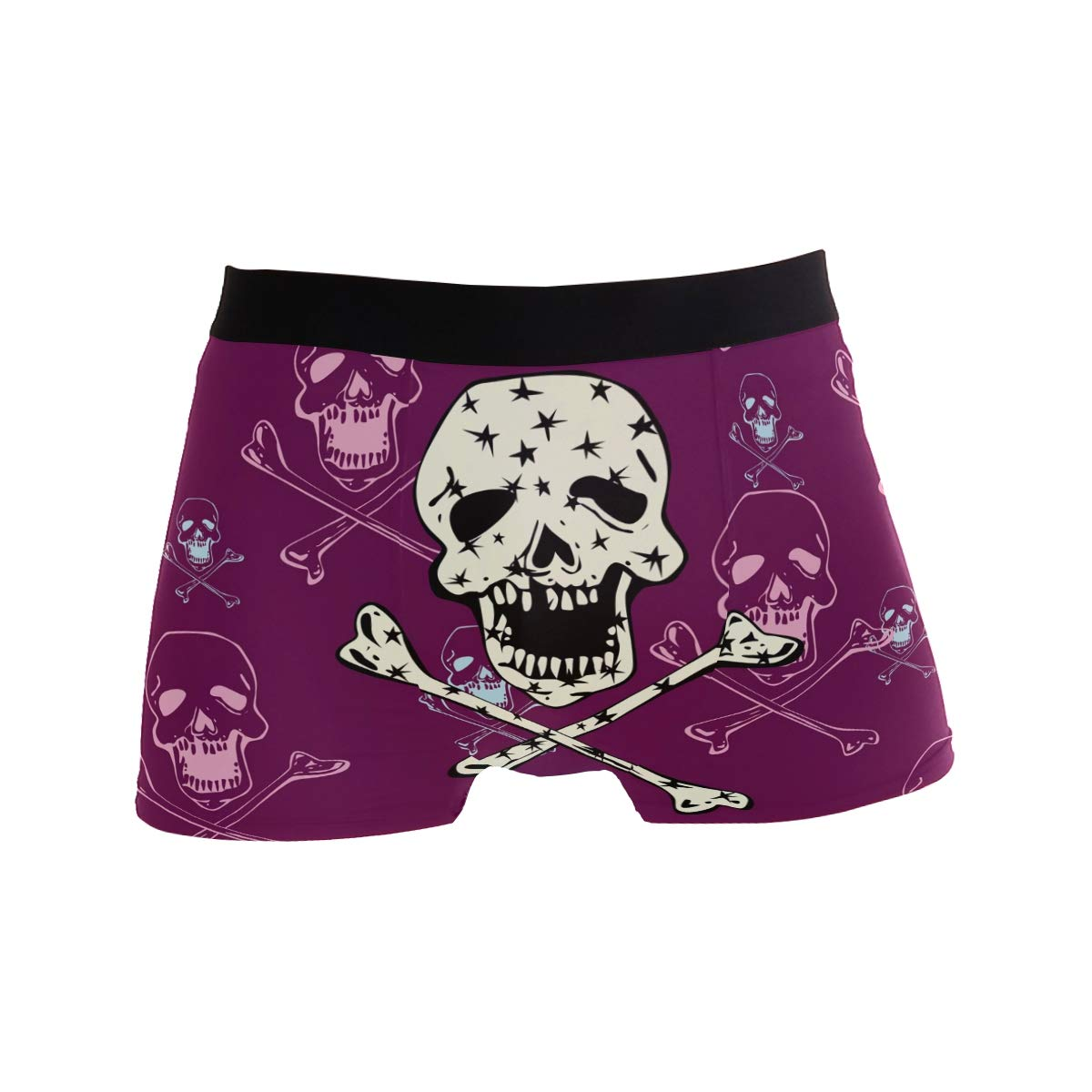 Multi ZZKKO Skull with Stars Mens Underwear Boxer Briefs Breathable