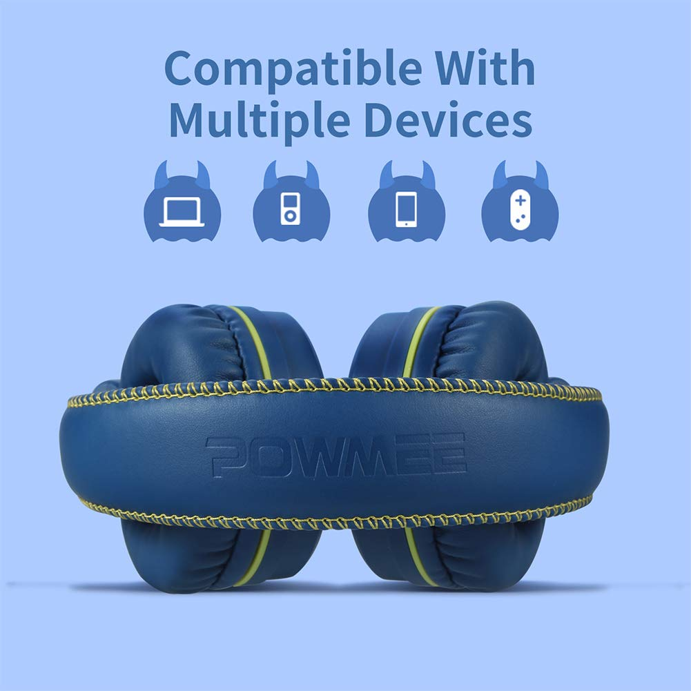 POWMEE M1 Kids Headphones Wired Headphone for Kids,Foldable Adjustable Stereo Tangle-Free,3.5MM Jack Wire Cord On-Ear Headphone for Children (Blue) by POWMEE (Image #4)