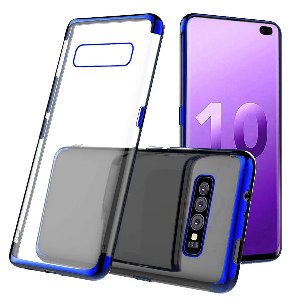 Waterproof-Case-with-Built- Screen-Protector,For Samsung-S10-Plus 6.3inch-Clear-Case-Protective TPU Gel Cover (Blue)