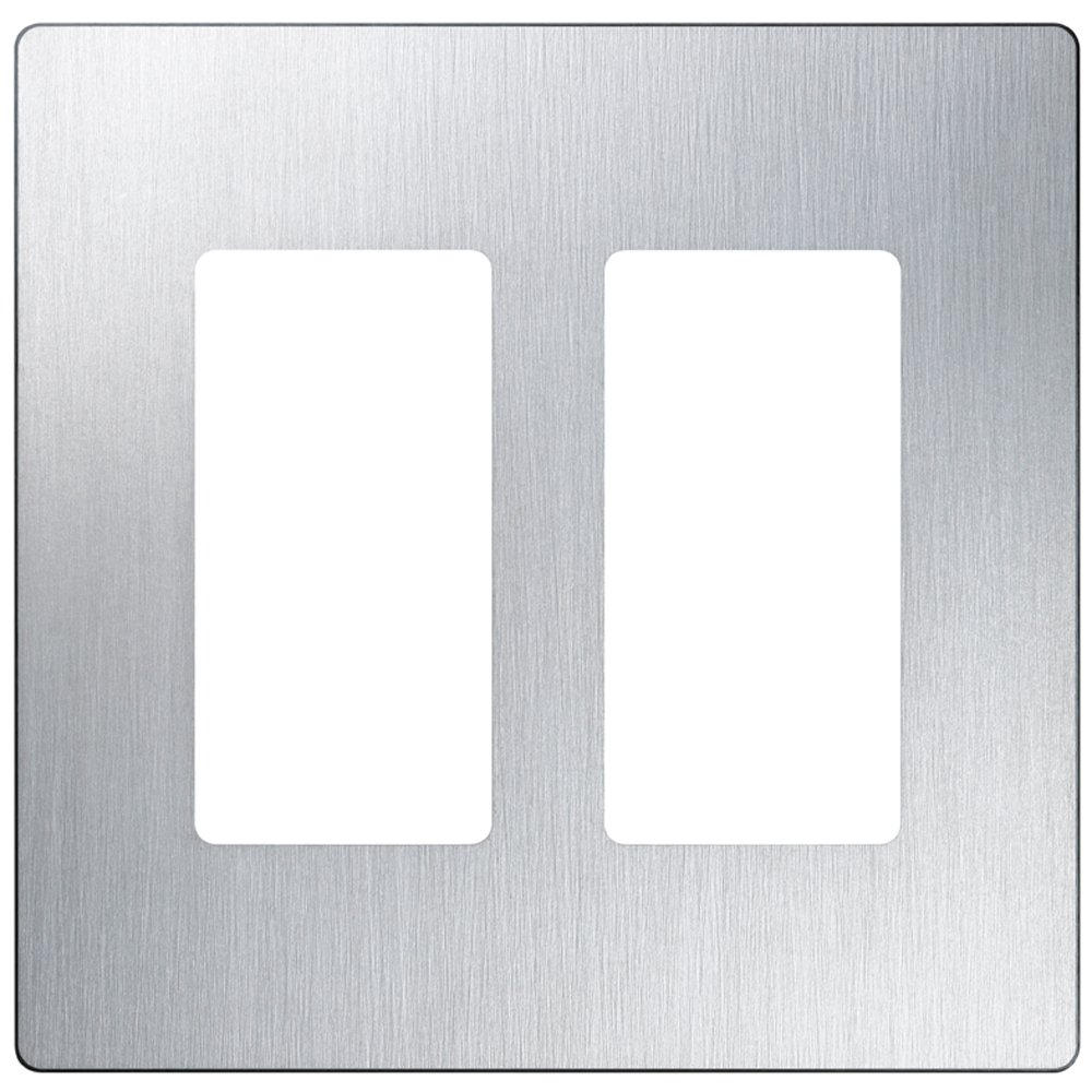 Lutron Claro 2 Gang Decorator Wallplate, CW-2-SS, Stainless Steel