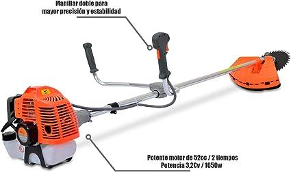 Spark - Desbrozadora De Gasolina 52cc, Multifuncional 3 En 1, 2.21HP/1650W, Arnés Y Casco De Seguridad, 3 Cabezas, Motor De Gasolina De 2 Tiempos: Amazon.es: Jardín