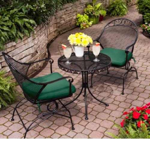 Outdoor Wrought Iron Bistro Set W / Free Green (Wrought Iron Mesh Top Table)