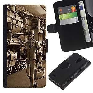 Samsung Galaxy S4 IV I9500 - Dibujo PU billetera de cuero Funda Case Caso de la piel de la bolsa protectora Para (Gentleman Spy - Tf Game Gaming)