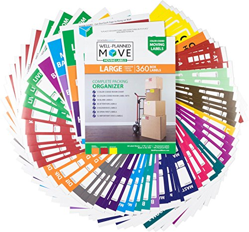 "Large Home Moving Labels - LARGE KIT - 360 Color Coded Labels, 4 Bedroom House, 1 Blank Set, Attention and Priority Labels, Size 4"" x 3.33"", By Well Planned Move"