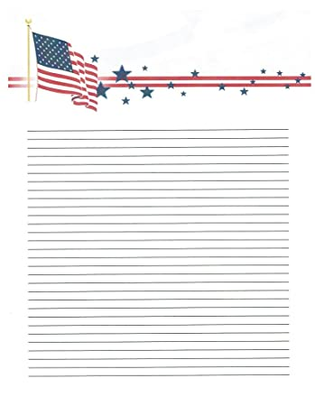 bf39a977739e Amazon.com   Kid s Camp American Flag Lined Stationery Paper 26 ...