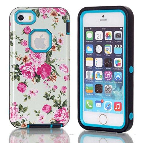 iPhone 5s cas, iPhone 5 cas, Lantier Pink Rose Pattern [3 en 1 Série Shield] Cas hybride avec Inner silicone souple et Housse extérieure dure PC pour Apple iPhone 5 / 5s Bleu
