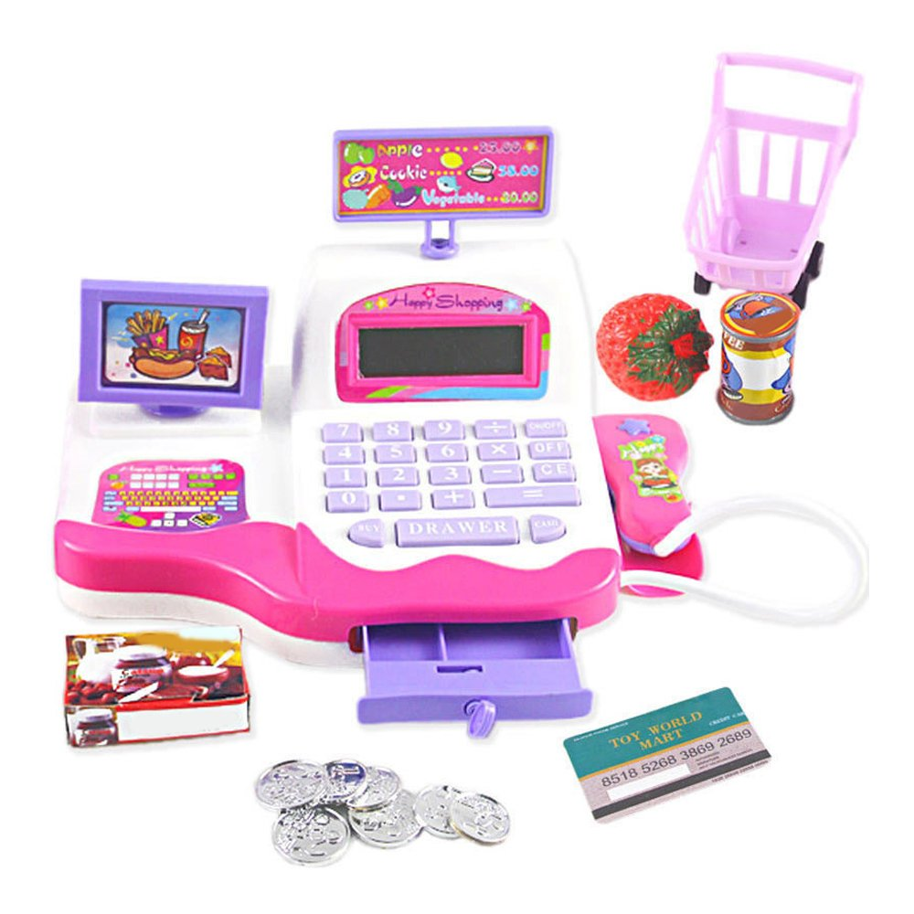 AHZZY Pretend Play Electronic Toy Cash Register, Calculator Scanner Play with Money Pretend Play Supermarket Playset