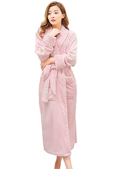 Womens Long Robe Fleece Dressing Gown Plush Luxury Bathrobe Ladies Shawl  Collar Housecoat Sleepwear (L XL 442de3c15