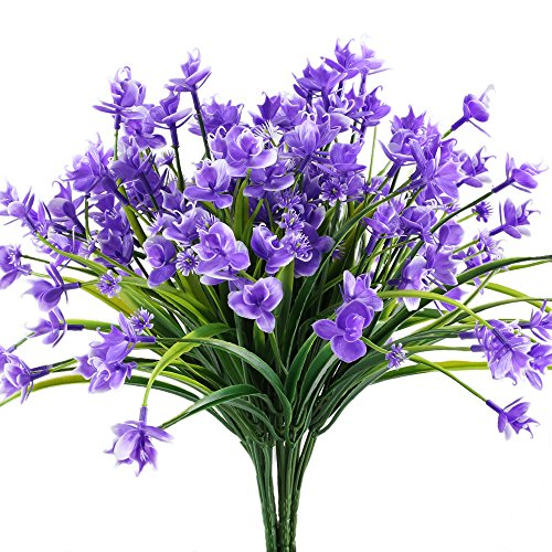 HOGADO Artificial Orchid Flowers, 4pcs Fake Dancing Lady Plastic Plants Greenery Shrubs DIY Wedding Bouquet Indoor Outside Garden Patio Wall Planter Purple ()