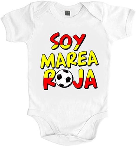 Body bebé Soy marea roja España fútbol - Blanco, 6-12 meses: Amazon.es: Bebé