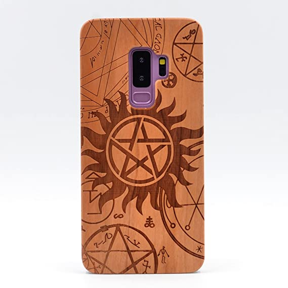 Galaxy S9 Plus Case, Supernatural Pentagram Star Pattern Handmade Carving Real Wooden Wood Case Cover with Plastic Case for Samsung Galaxy S9 Plus