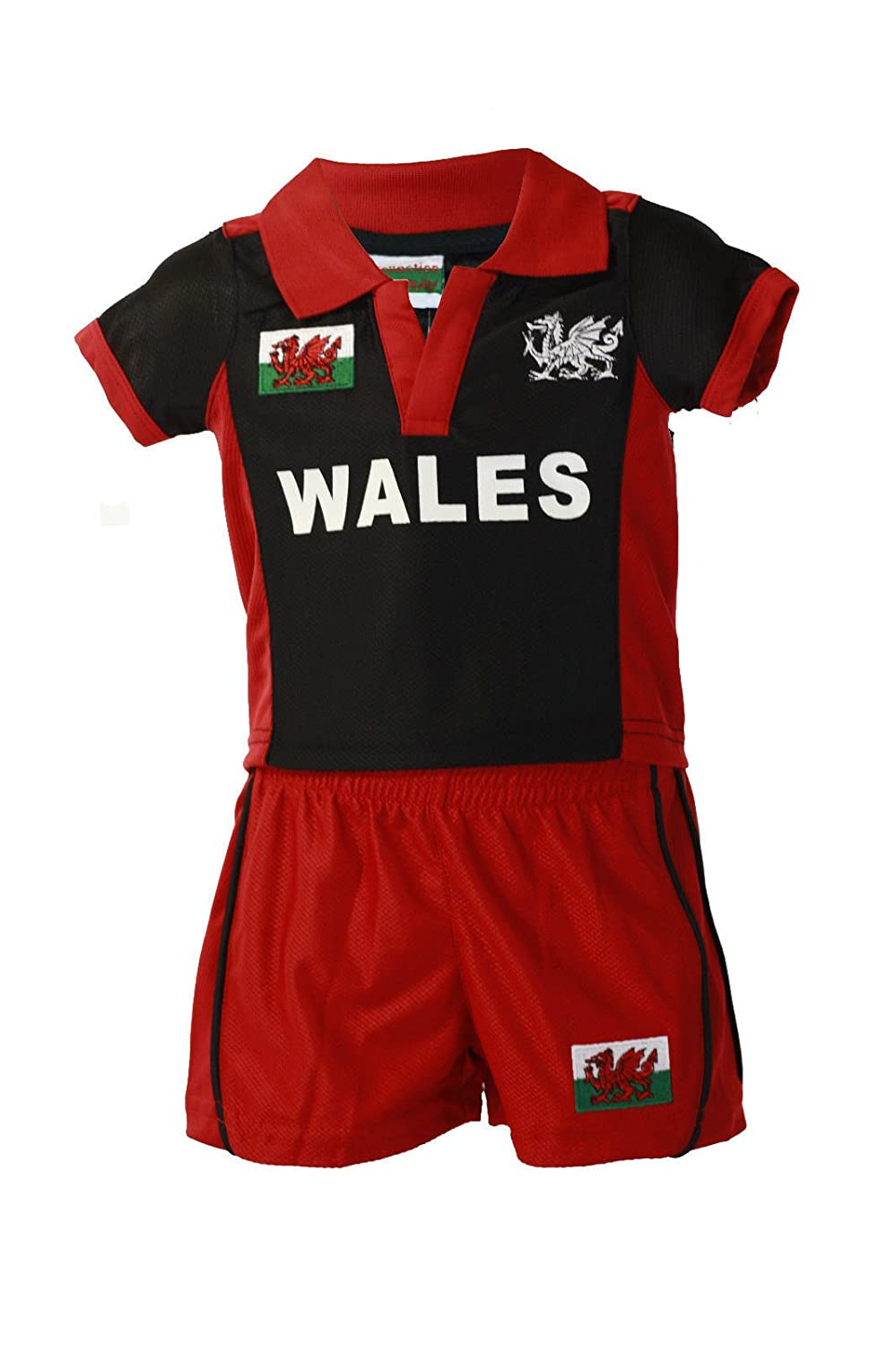FASHION REVIEW MANAV'S BABY WELSH CYMRU RUGBY KIT (Top+Shorts) BLACK & RED YEARS 1-5