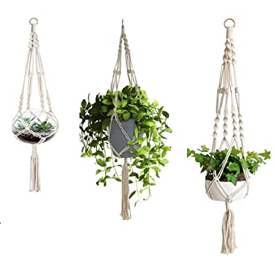 3 Pack Macrame Plant Hanger with S-L Size, Fixinus 4 Legs Cotton Woven Hanging Plant Holder Plant Pot Stand Ideal for Indoor Outdoor Home Birthday Decor : Garden & Outdoor