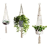 3 Pack Macrame Plant Hanger with S-L Size, Fixinus 4 Legs Cotton Woven Hanging Plant Holder Plant Pot Stand Ideal for…