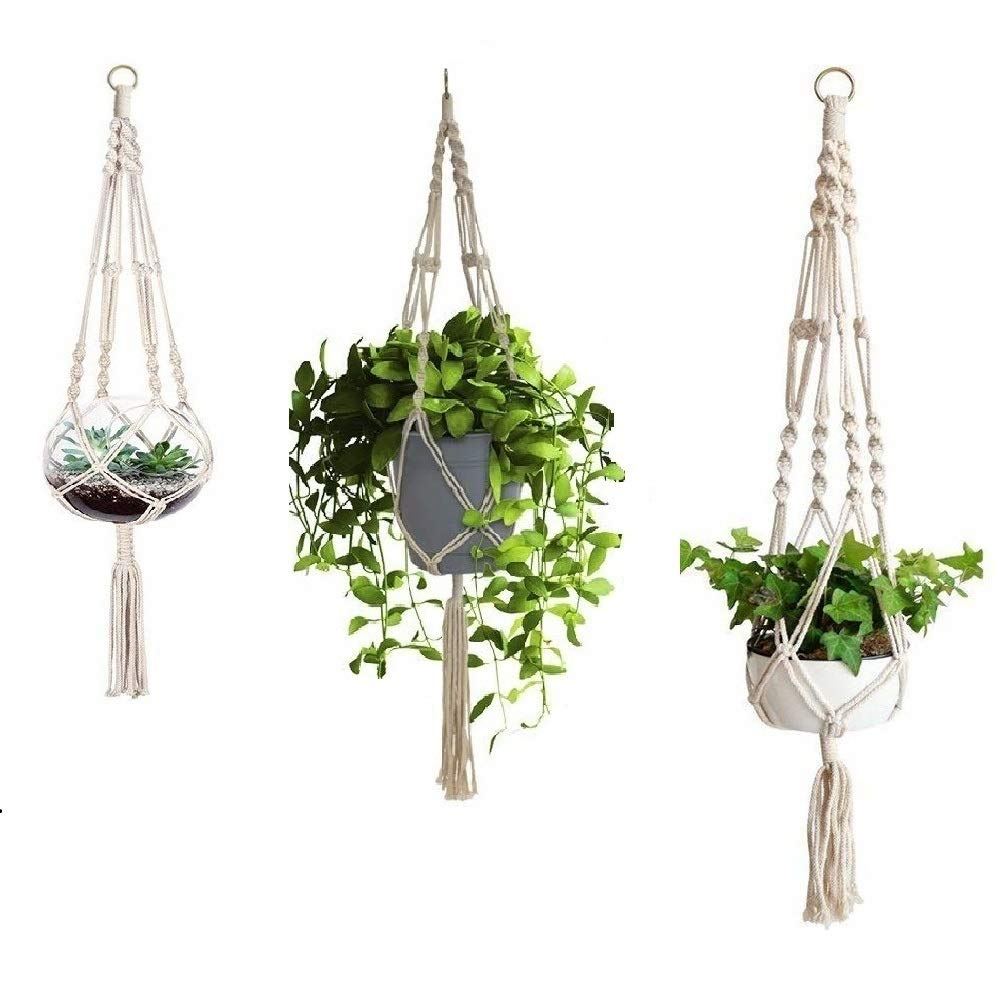 3 Pack Macrame Plant Hanger with S-L Size, Fixinus 4 Legs Cotton Woven Hanging Plant Holder Plant Pot Stand Ideal for Indoor Outdoor Home Birthday Decor