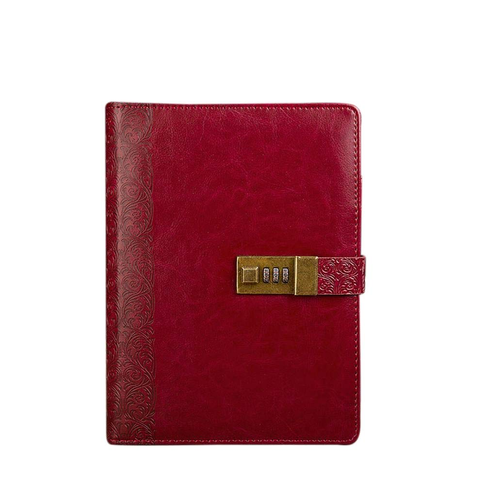 Sinngukaba Loose-Leaf Password Notepad A5 Stationery Notebook for Antique Gift (Color : Reddish Brown)