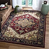 Safavieh Heritage Collection HG625A Handcrafted Traditional Oriental Heriz Medallion Red Premium Wool Area Rug (11' x 16')