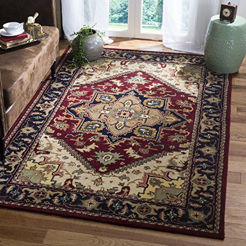 Safavieh Heritage Collection HG625A Handcrafted Traditional Oriental Heriz Medallion Red Wool Area Rug (9'6